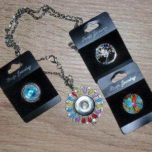 18mm Snap Necklace Pendant Bundle with 3 Snaps